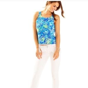 Lily Pulitzer Sonya Fringe Top in Blue Size 6